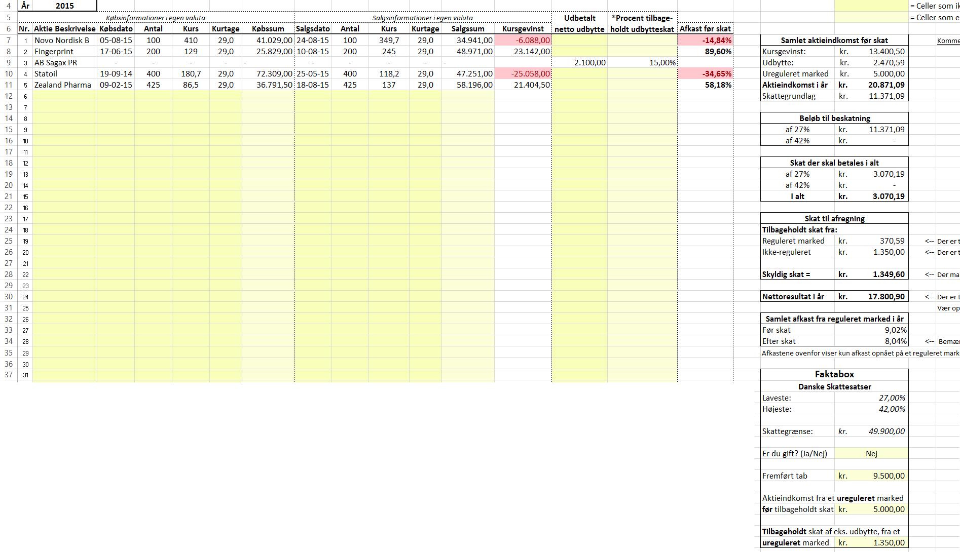 Aktiebeskatning - Eksempel med fire aktiehandler og ét udbytte med gevinst og tab samt fremført tab og aktieindkomst fra ureguleret marked