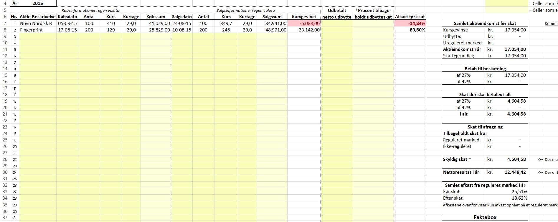 Aktiebeskatning - Eksempel med to aktiehandler med gevinst og tab