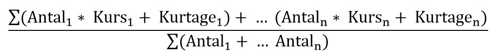 Beregning af gennemsnits anskaffelseskurs (GAK)
