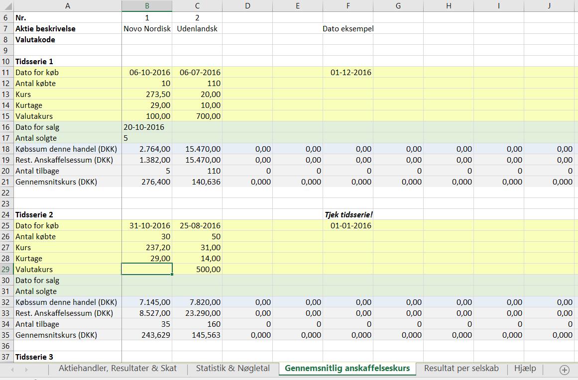 Beregning af gennemsnitlig anskaffelseskurs ved 2 handler, hver i 2 forskellige aktier og valutaer.