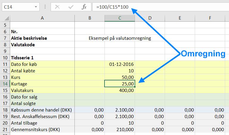 Omregning af kurtage fra DKK til fremmed valuta til gennemsnitskurs for aktiebeskatning